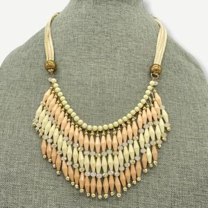 Pink Cream Beaded Leather Statement Necklace
